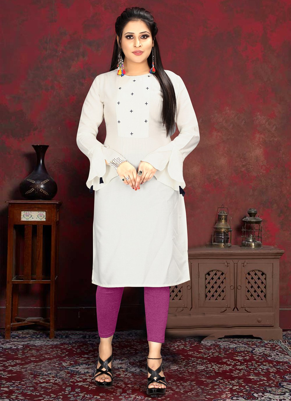 White Rayon Party Casual Kurti