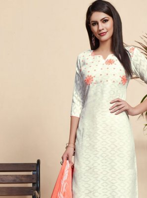 White Reception Jacquard Salwar Suit