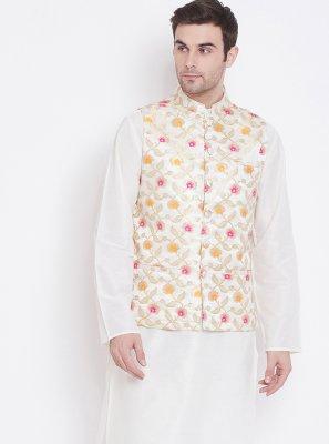 White Reception Kurta Payjama With Jacket