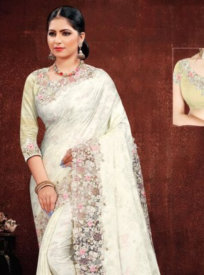 White Resham Reception Classic Designer Saree