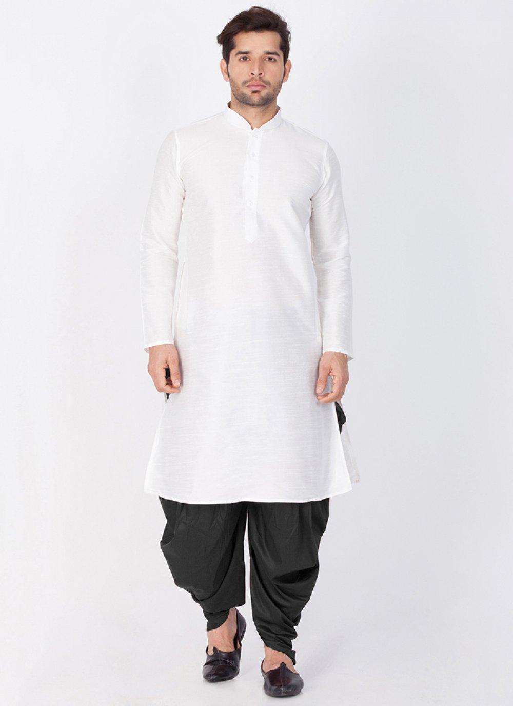 White Sangeet Art Banarasi Silk Dhoti Kurta