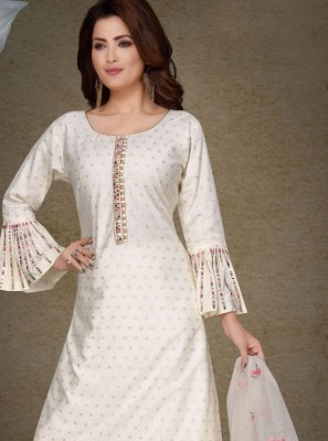 White Sangeet Brocade Salwar Suit