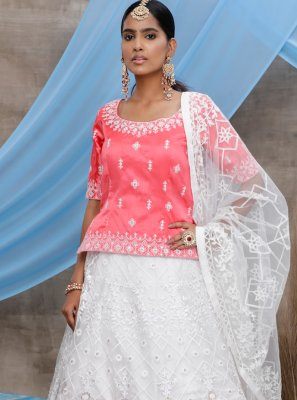 White Sequins Net Bollywood Lehenga Choli