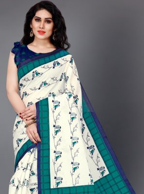 White Silk Printed Trendy Saree