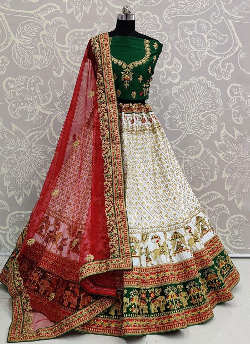 White Silk Trendy Lehenga Choli