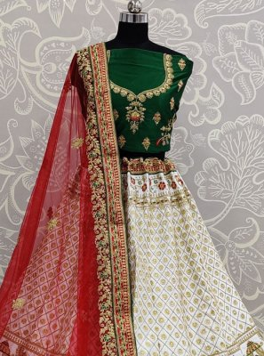 White Silk Trendy Lehenga Choli