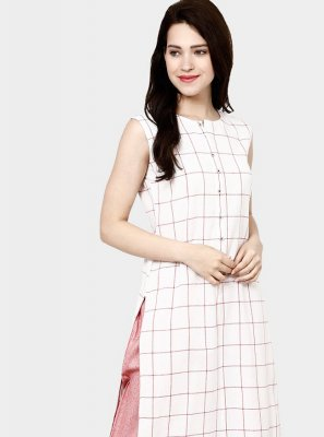 White Stripe Print Casual Party Wear Kurti