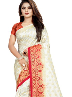White Weaving Festival Traditional Designer Saree
