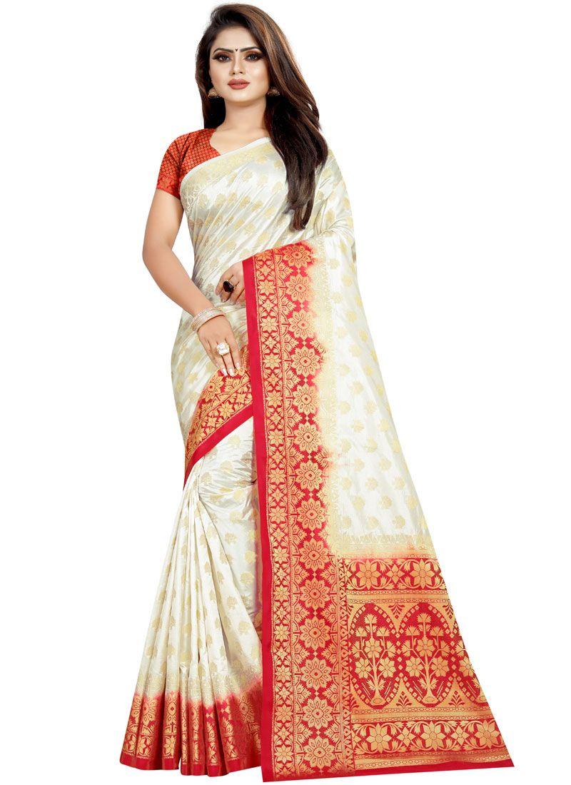 White Weaving Festival Traditional Designer Saree