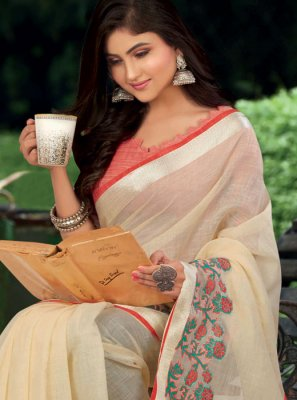 White Weaving Linen Classic Saree
