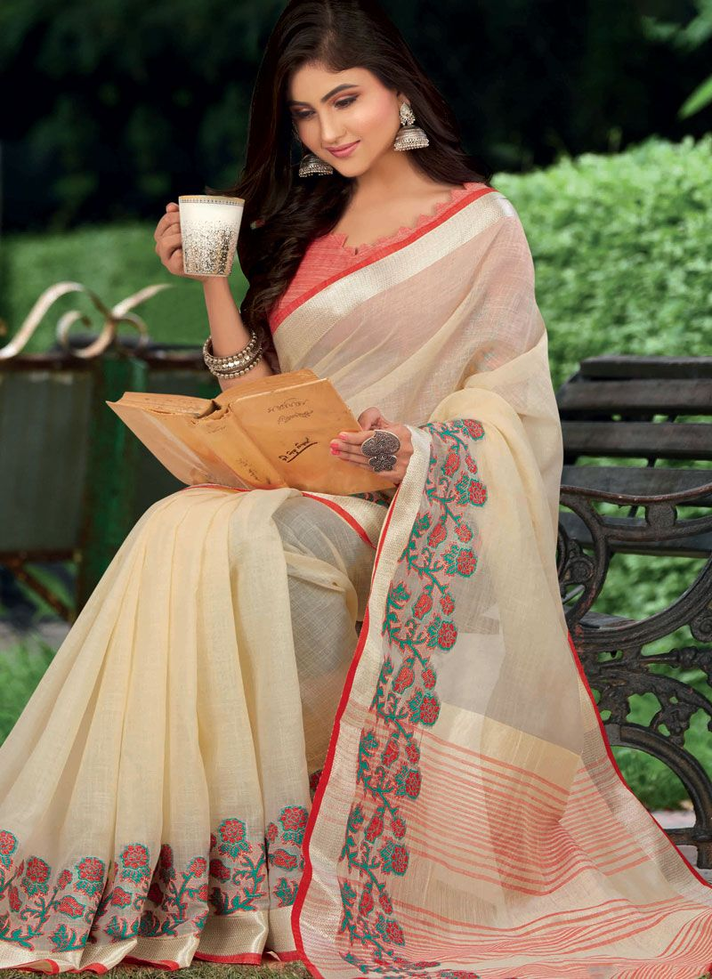 White Weaving Linen Classic Saree