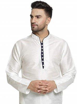White Wedding Art Dupion Silk Kurta