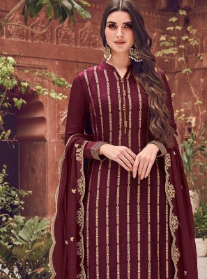 Wine Color Pakistani Straight Salwar Kameez