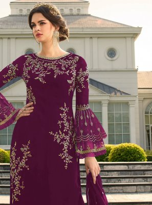 Wine Embroidered Georgette Designer Palazzo Suit