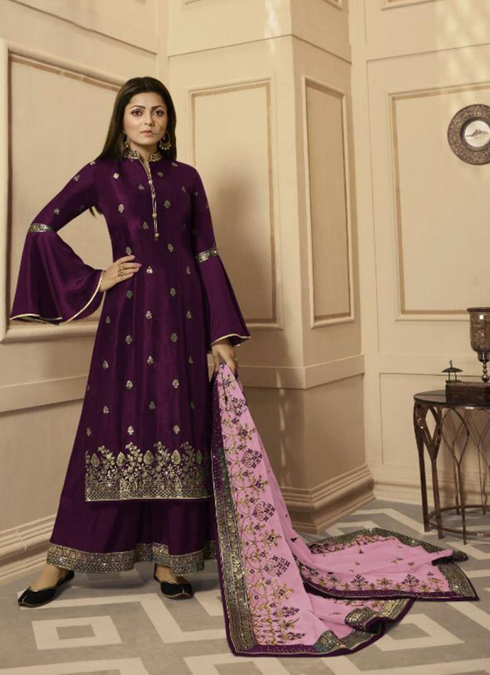 Wine Embroidered Georgette Satin Trendy Palazzo Salwar Kameez