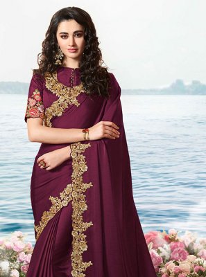 Wine Embroidered Satin Silk Classic Saree