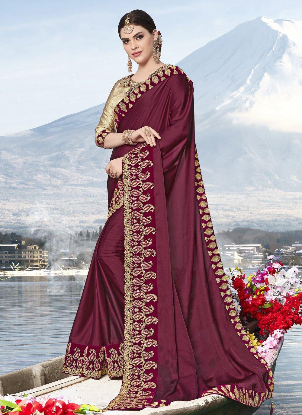 Wine Embroidered Silk Trendy Saree