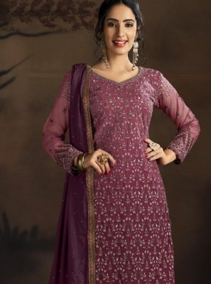 Wine Embroidered Trendy Salwar Suit