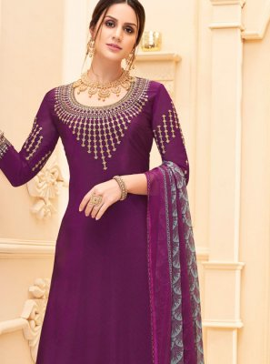 Wine Faux Crepe Salwar Suit