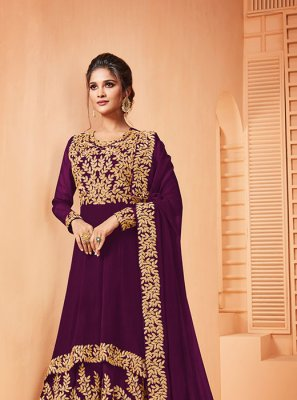 Wine Georgette Ceremonial Salwar Suit