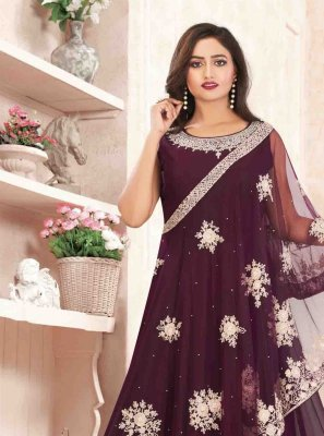 Wine Georgette Embroidered Designer Gown