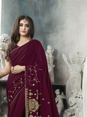 Wine Georgette Resham Classic Saree