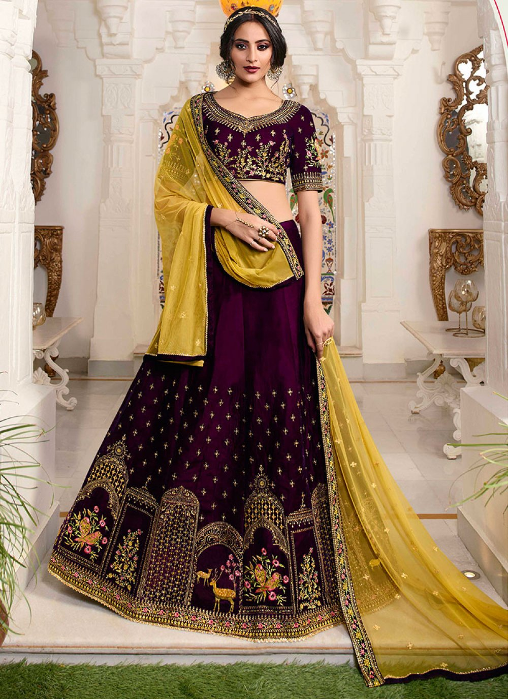 Wine Lace Net Lehenga Choli
