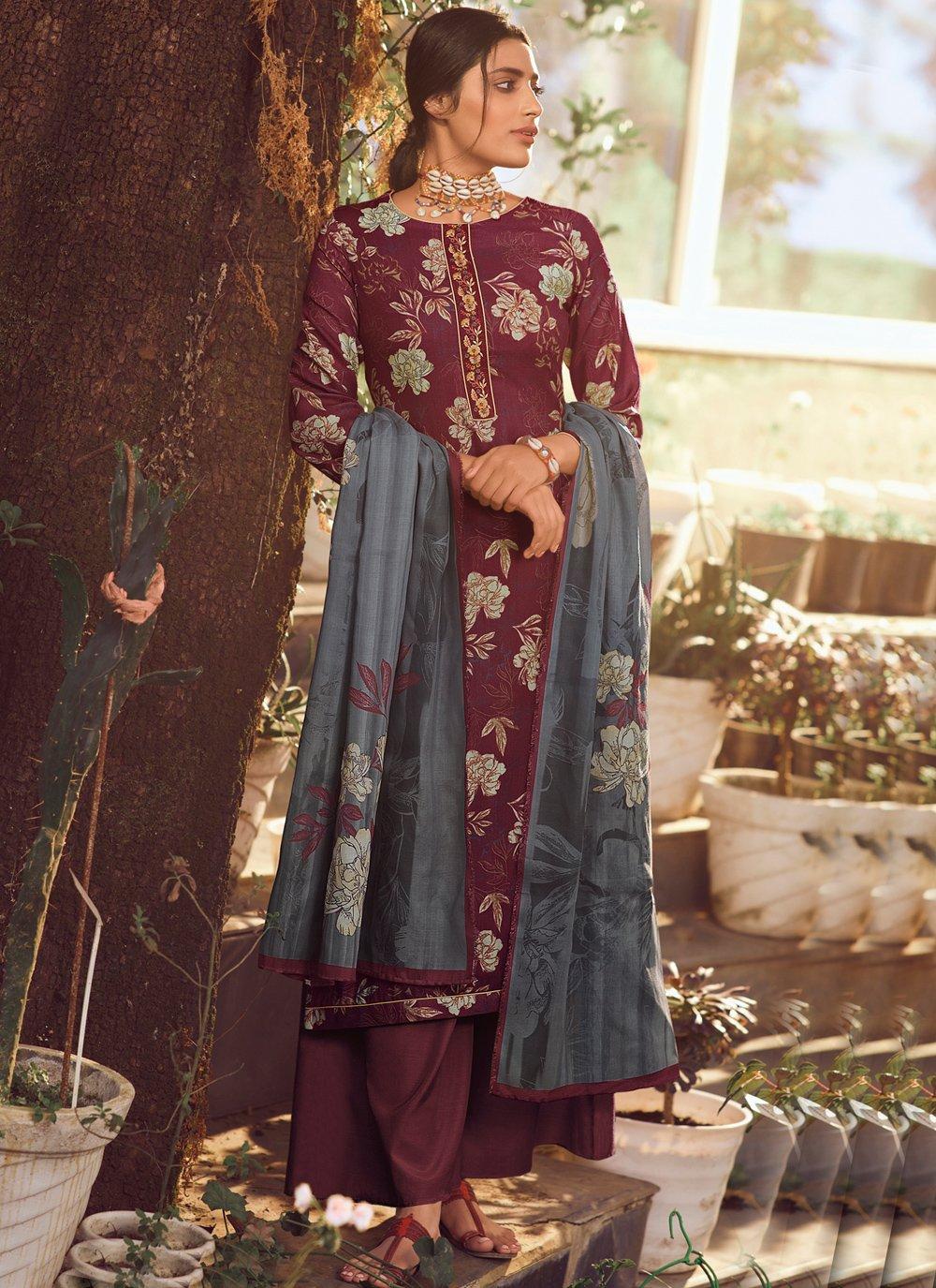 Wine Pashmina Trendy Palazzo Suit