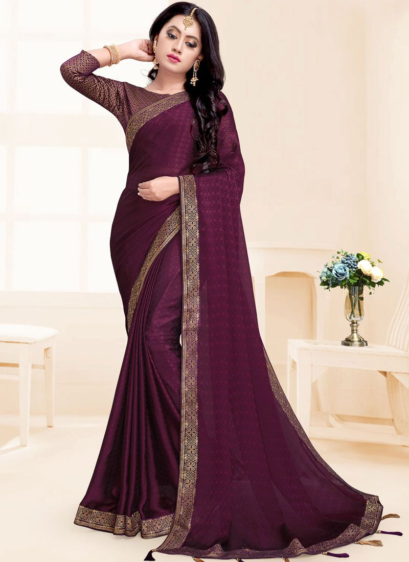 Wine Patch Border Saree