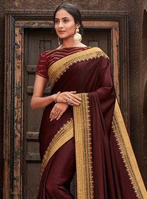 Wine Patch Border Silk Classic Saree