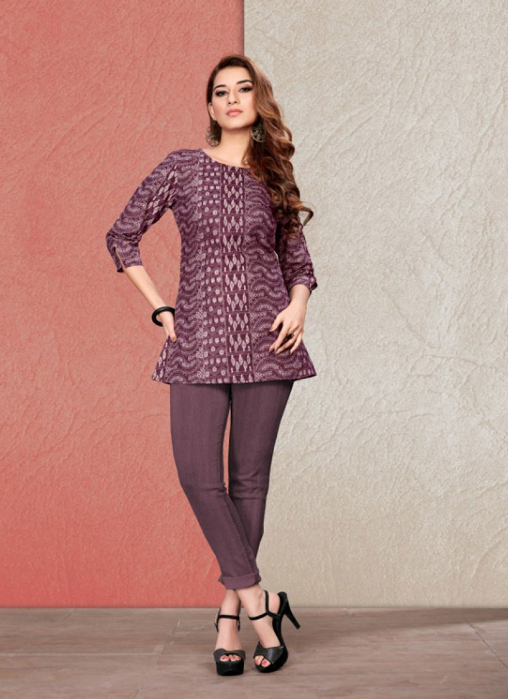 Wine Printed Casual Party Wear Kurti