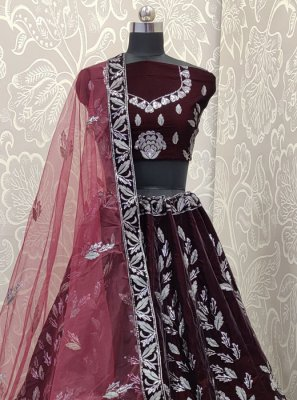 Wine Reception Velvet A Line Lehenga Choli