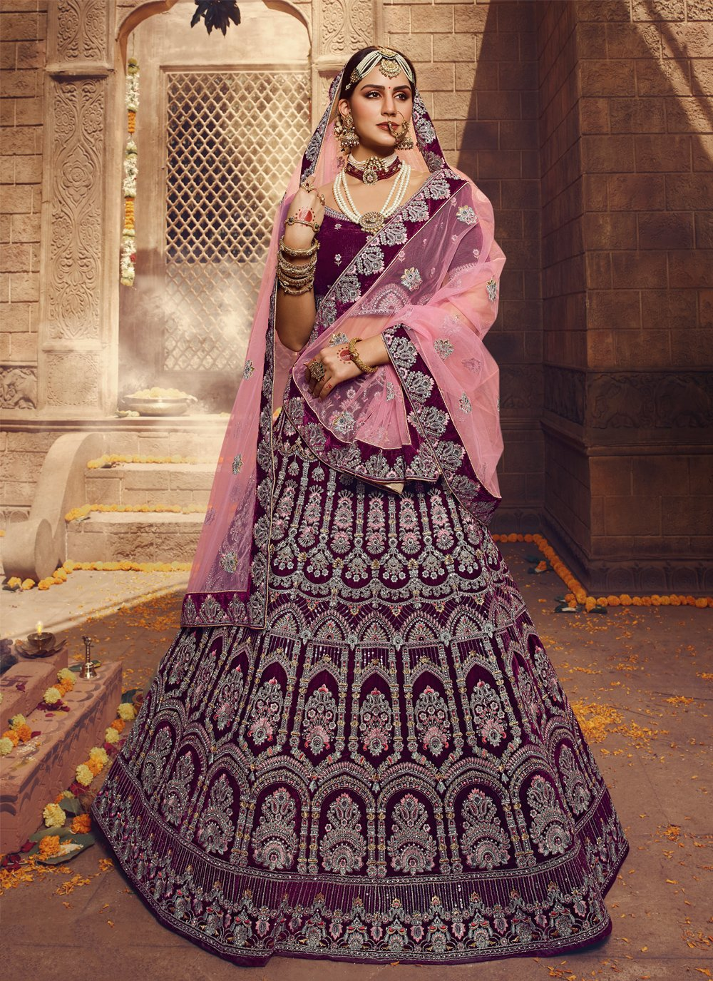 Wine Thread Velvet Lehenga Choli