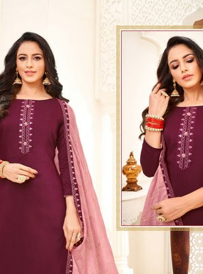 Wine Trendy Churidar Salwar Kameez