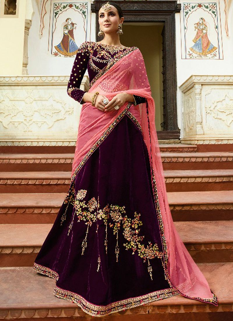 Wine Velvet Embroidered Designer Lehenga Choli