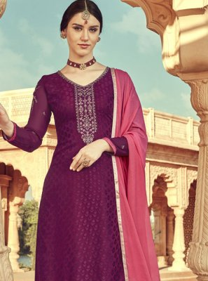 Wine Viscose Designer Suit