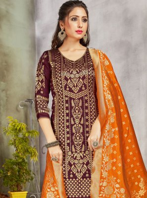 Wine Weaving Salwar Suit