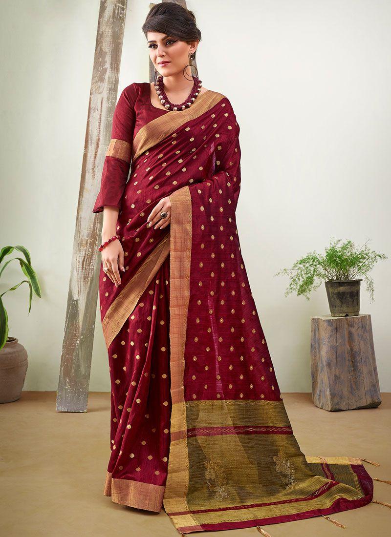Wine Woven Art Silk Designer Traditional Saree