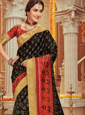 Woven Art Silk Black Traditional Designer Saree