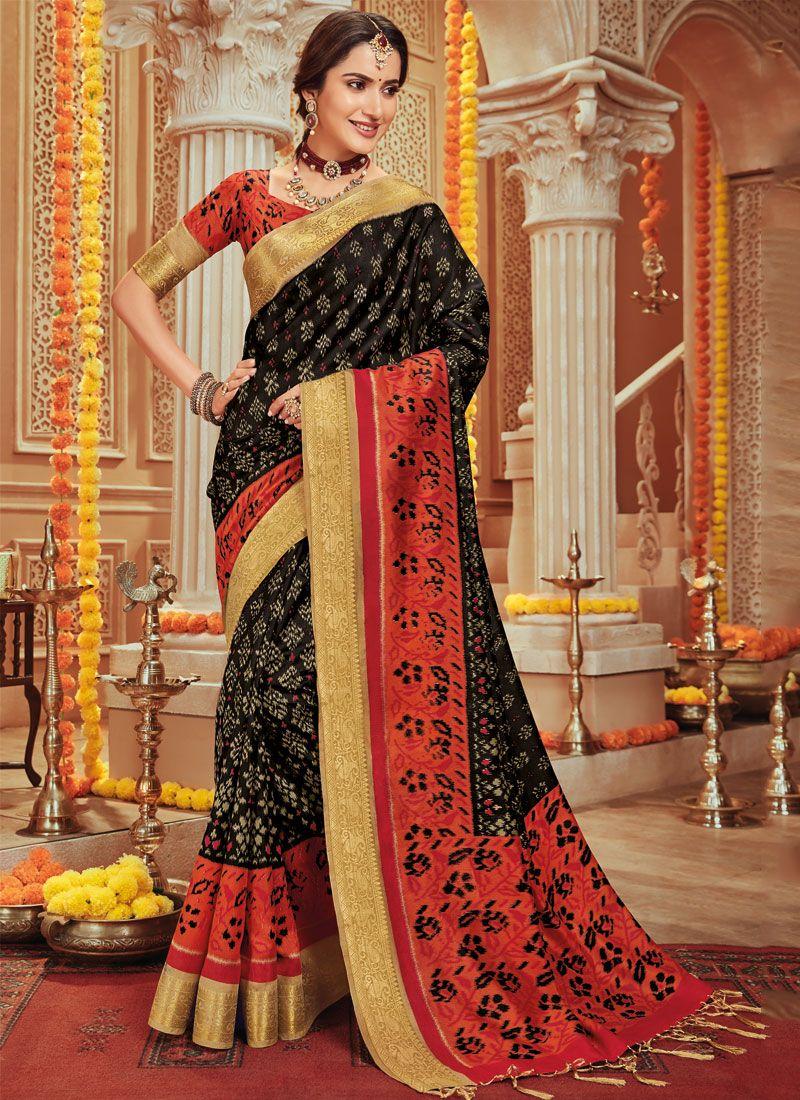 Woven Art Silk Black Traditional Designer Saree