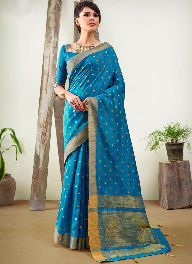 Woven Art Silk Designer Traditional Saree in Blue