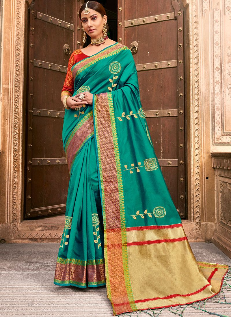 Woven Art Silk Designer Traditional Saree in Green
