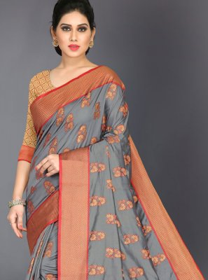 Woven Art Silk Designer Traditional Saree in Grey