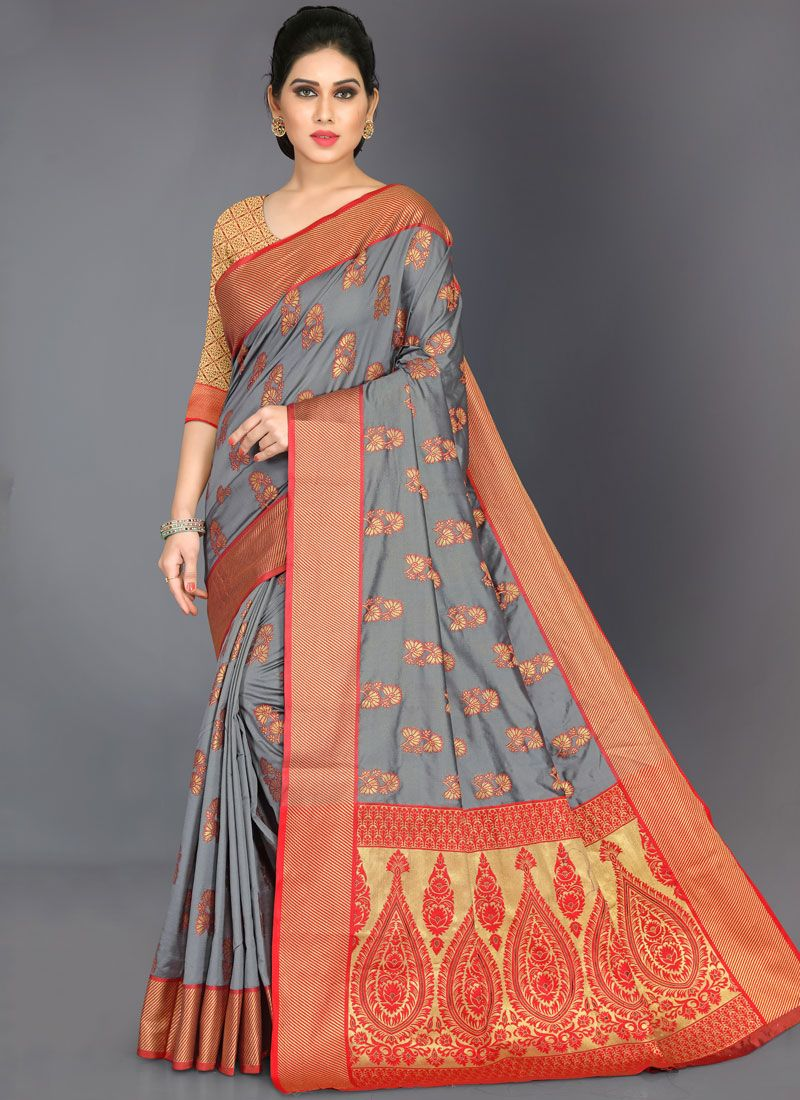 Woven Art Silk Designer Traditional Saree in Grey