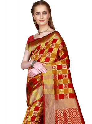 Woven Art Silk Mustard and Red Saree