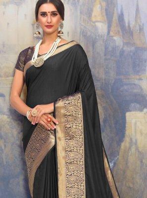 Woven Black Art Silk Traditional Designer Saree