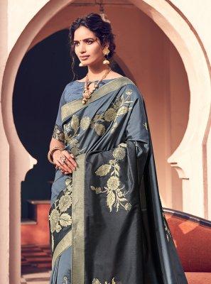 Woven Blue Banarasi Silk Designer Bollywood Saree