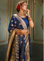 Woven Blue Contemporary Saree