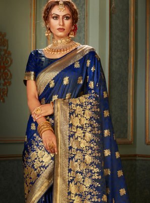 Woven Blue Contemporary Saree