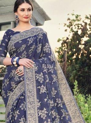 Woven Blue Designer Saree